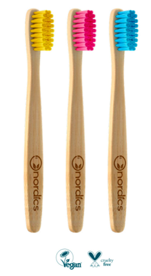 Dětský bambusový kartáček modrý Nordics