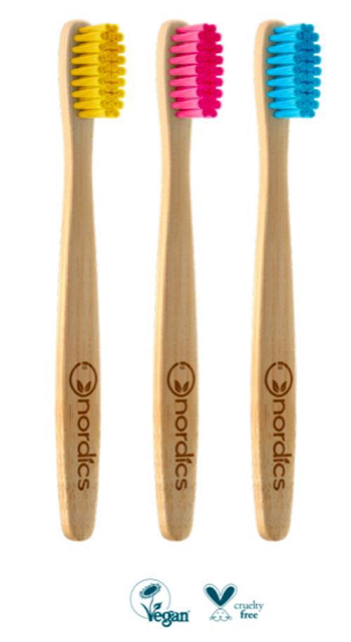 Dětský bambusový kartáček žlutý Nordics
