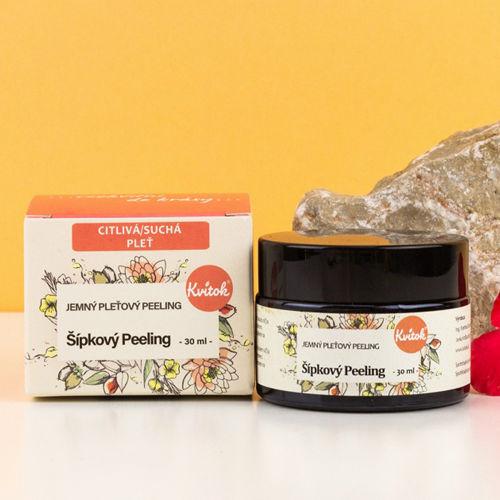 Jemný šípkový peeling pro suchou/citlivou pleť Kvitok