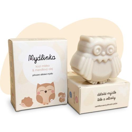 MYDLINKA Ručně vyráběné dětské mýdlo sovička s kozím mlékem Mydlinka