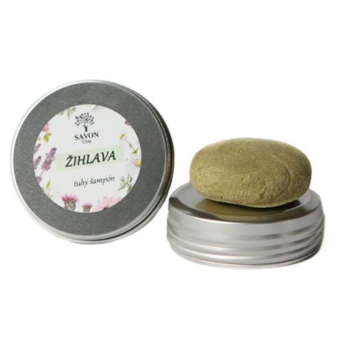 Přírodní tuhý šampon Kopřiva 25 g - hliníková přenoska Savon