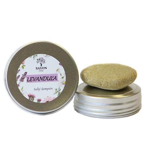 Přírodní tuhý šampon Levandule 25 g - hliníková přenoska Savon