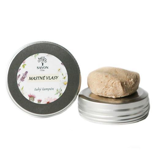 Přírodní tuhý šampon Mastné vlasy 60 g - hliníková přenoska Savon
