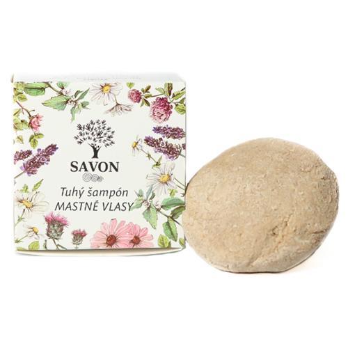 Přírodní tuhý šampon Mastné vlasy 60 g - papírová krabička Savon