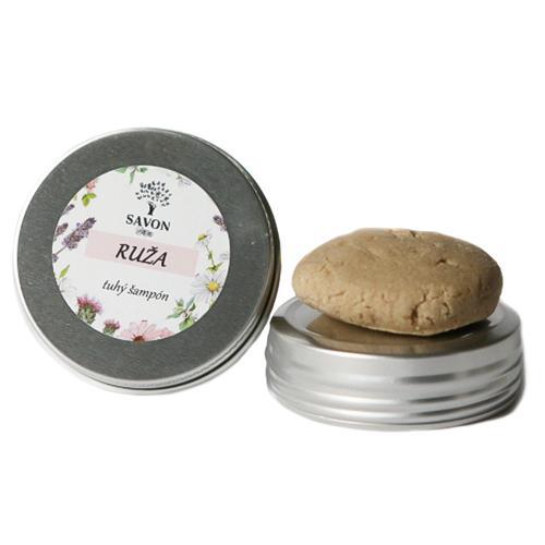 Přírodní tuhý šampon Růže 25 g - hliníková přenoska Savon