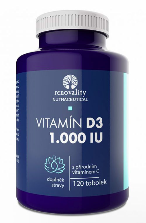 RENOVALITY Vitamín D3 1.000 IU obohacený přírodním vitamínem C Renovality