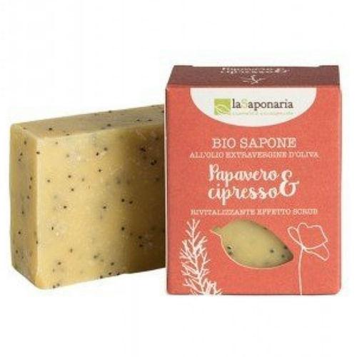 Tuhé olivové mýdlo BIO - Mák a cypřiš laSaponaria