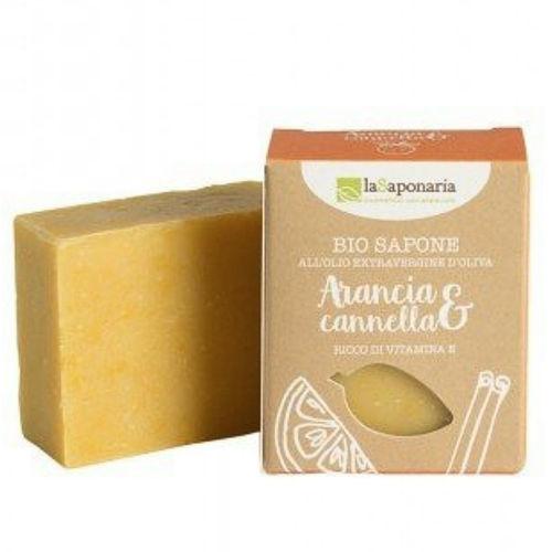 Tuhé olivové mýdlo BIO - Pomeranč a skořice laSaponaria