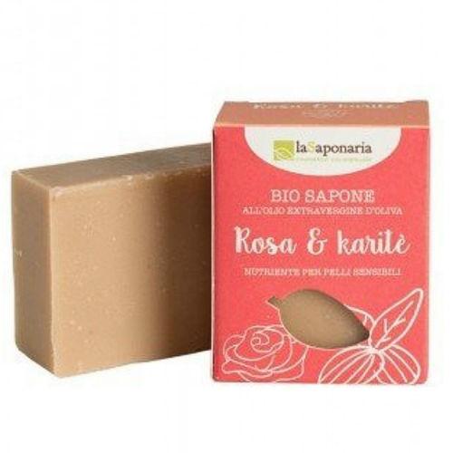 Tuhé olivové mýdlo BIO - Růžový olej a bambucké máslo laSaponaria