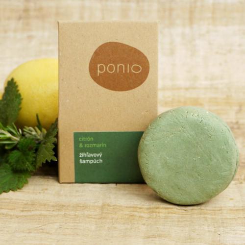 Tuhý šampon kopřivový - Citrón a rozmarýn 30 g Ponio