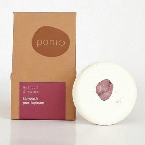Tuhý šampon proti lupům Levandule & Tea tree 60 g Ponio