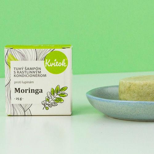 Tuhý šampon s kondicionérem proti lupům - Moringa 25 g Kvitok