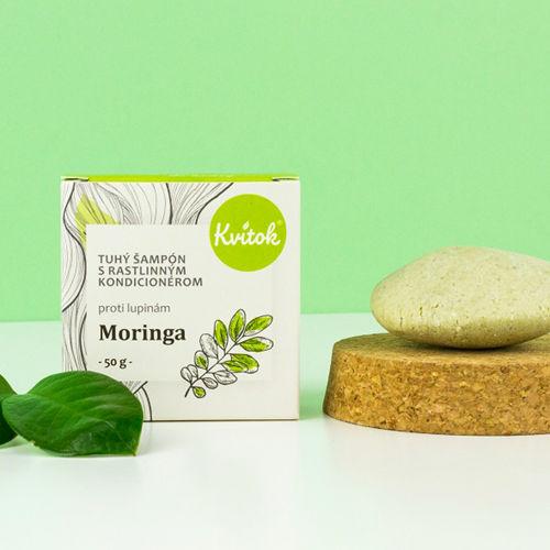 Tuhý šampon s kondicionérem proti lupům - Moringa 50 g Kvitok