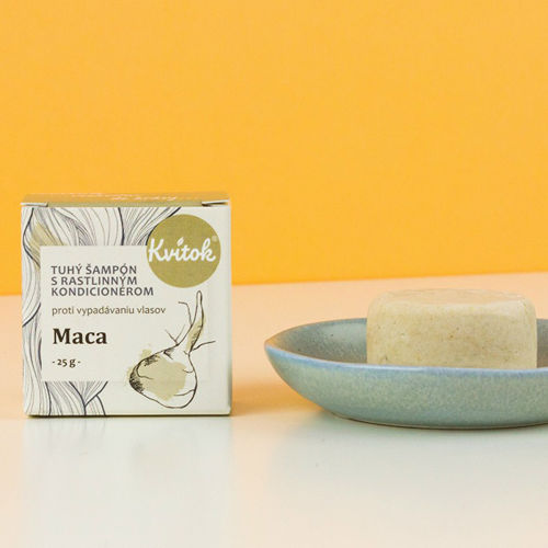 Tuhý šampon s kondicionérem proti vypadávání vlasů - Maca 25 g Navia/Kvitok