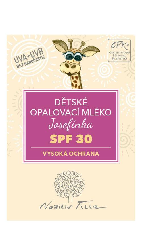 VZOREČEK Dětské opalovací mléko Josefínka SPF 30 Nobilis Tilia